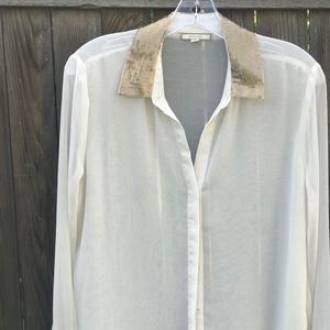 Sheer blouse with sequined collar